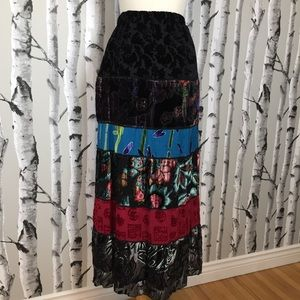 Gorgeous Burnout Velour/Velvet Maxi Skirt